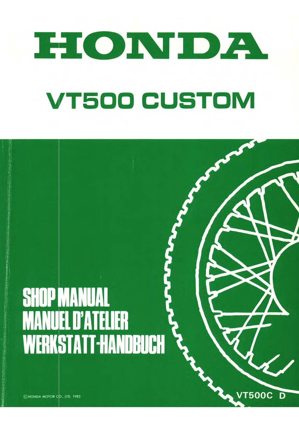 Workshop Manual for Honda VT500C (1983) (Multi-language)