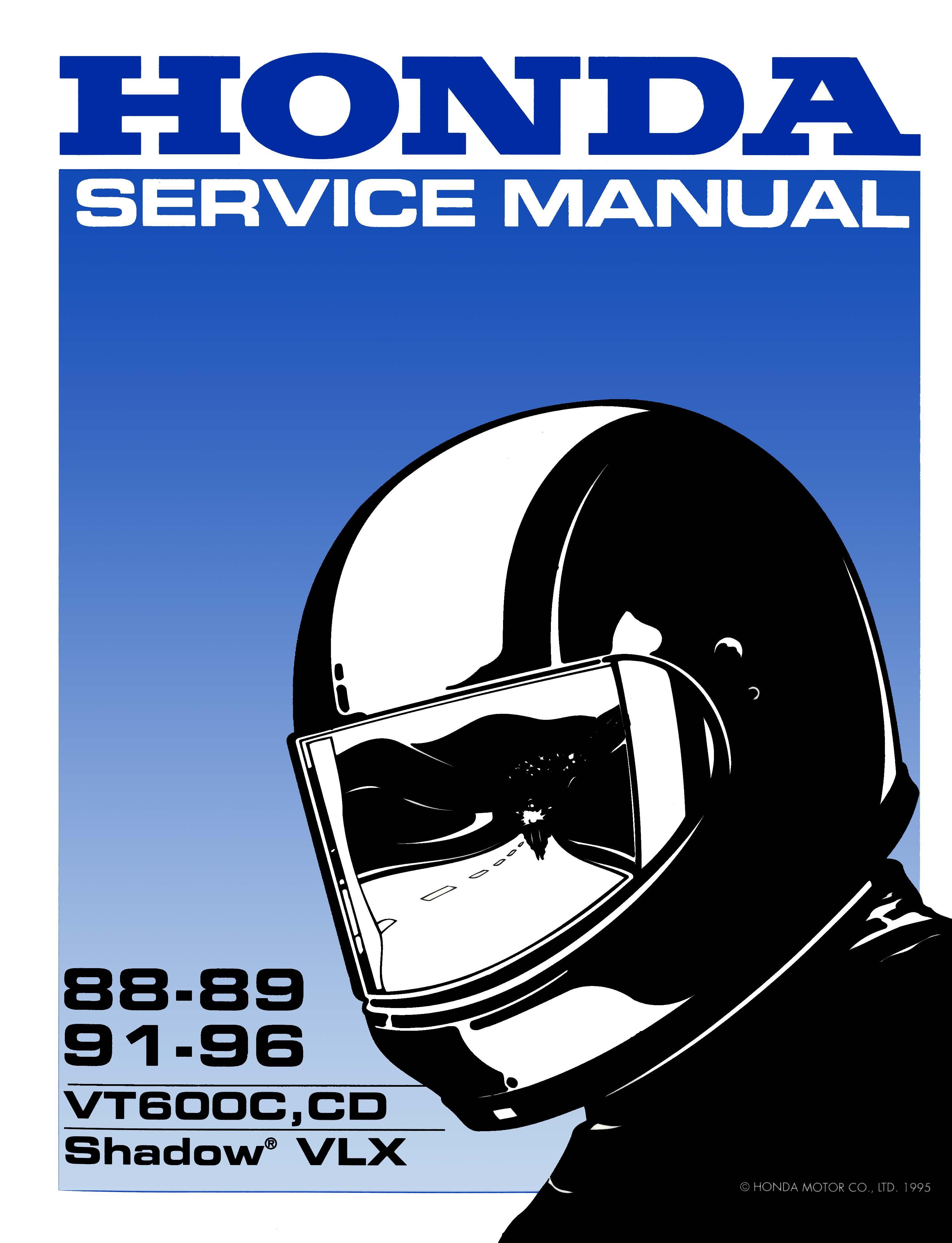 Workshop manual for Honda VLX600 (1988-1989 / 1991-1996)