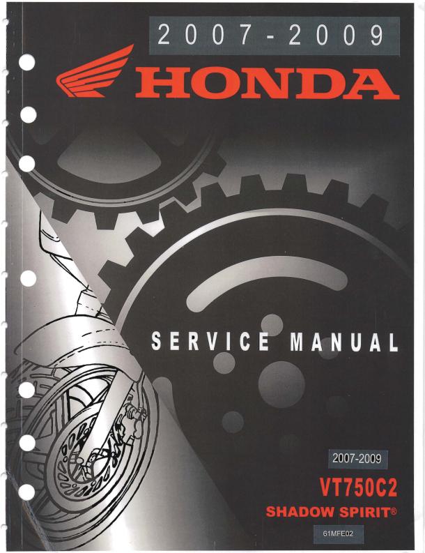 Workshop manual for Honda VT750C2 (2007-2009)