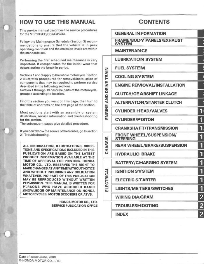 Workshop manual for Honda VT750C3 (2000)