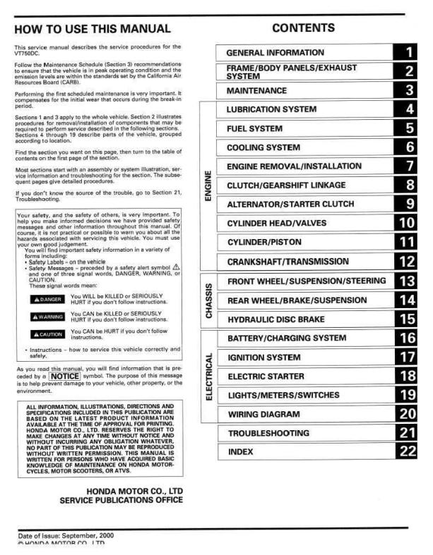 Workshop manual for Honda VT750DC (2000)