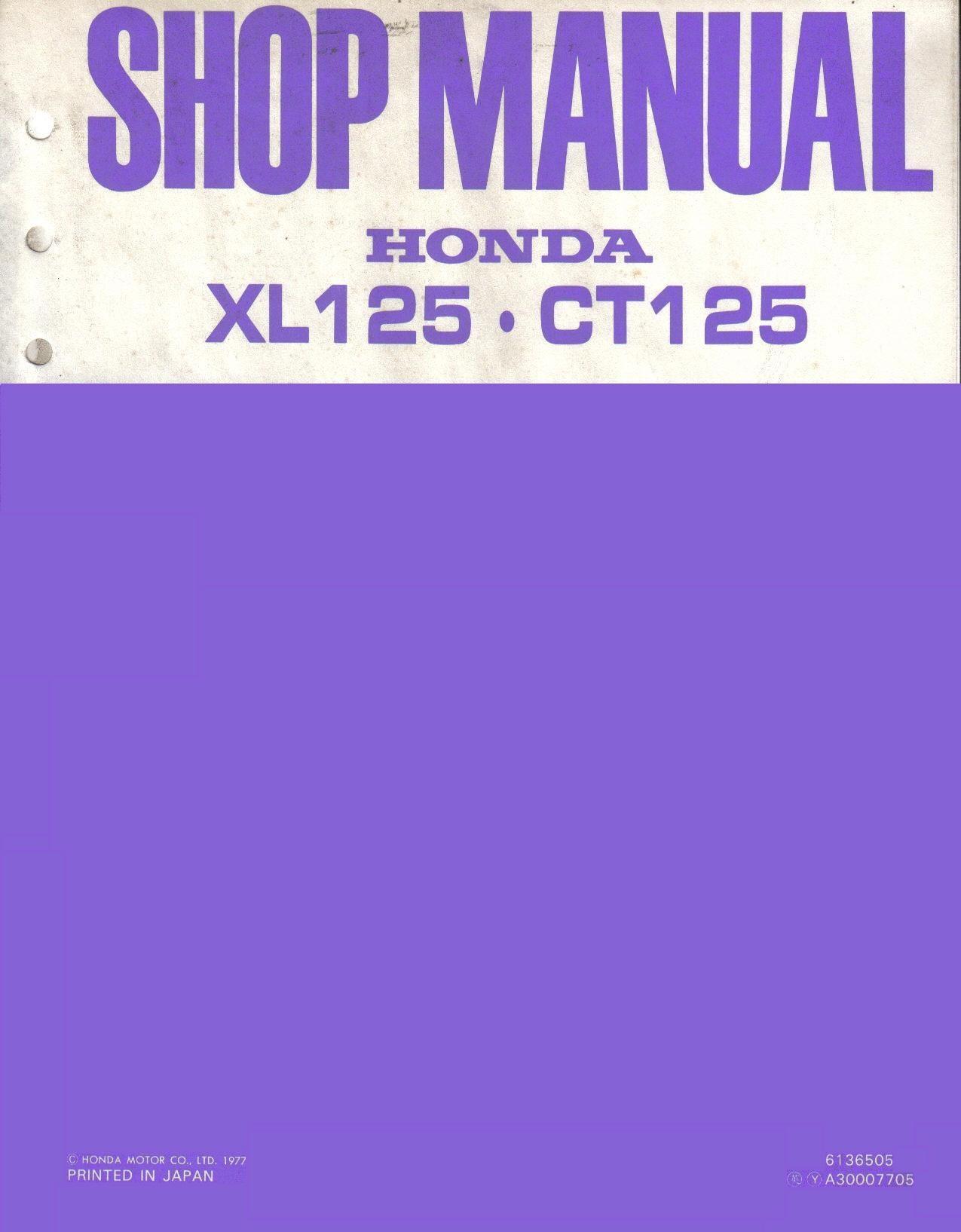 Workshop manual for Honda XT125 (1976-1977)