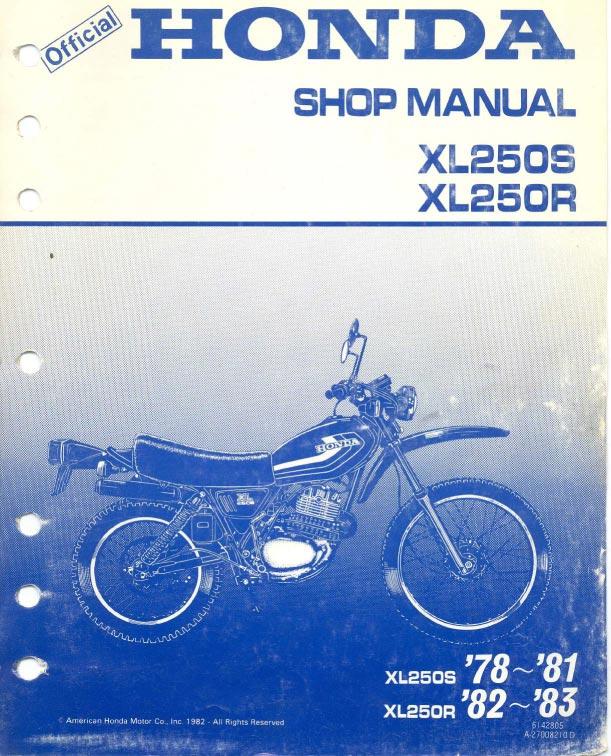 Workshop Manual For Honda Xl250r  1982-1983