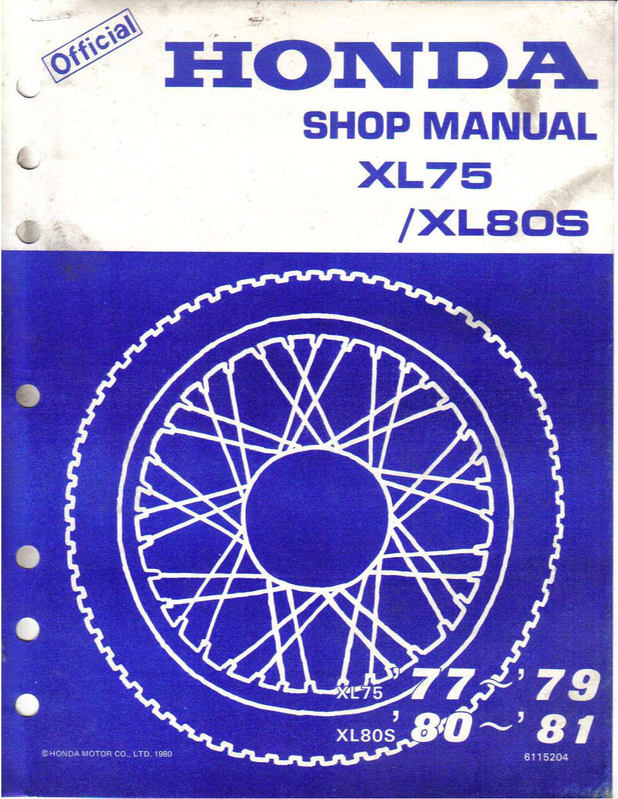 Workshop manual for Honda XL75 (1977-1979)