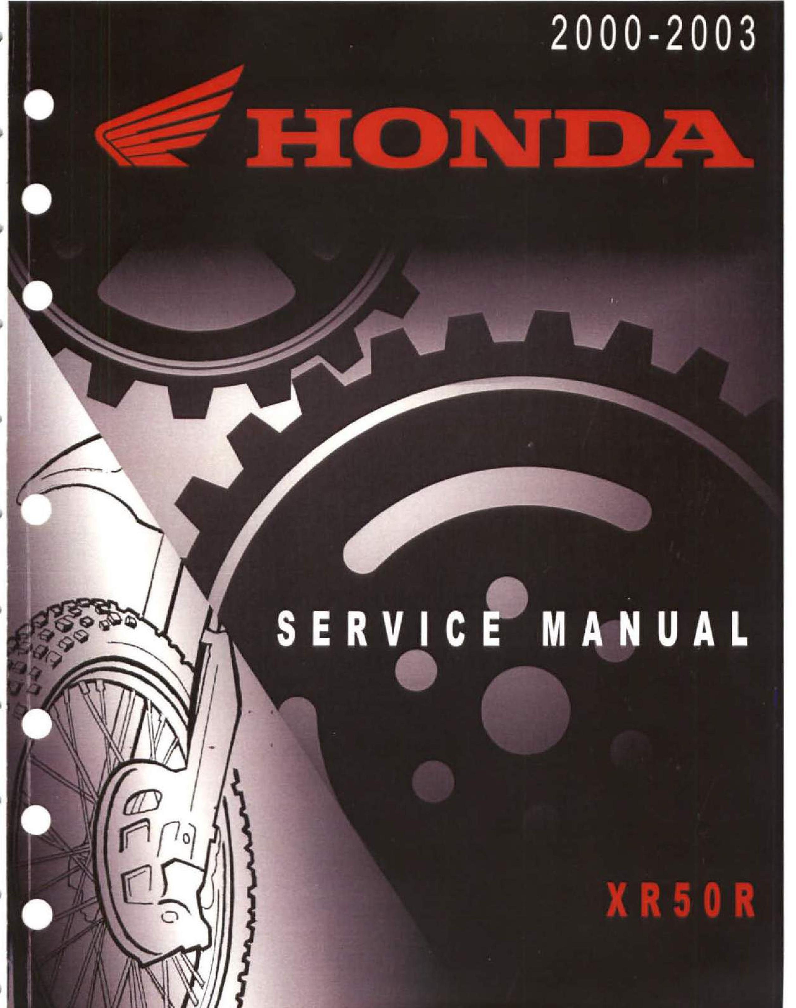 Workshop manual for Honda XR50R (2000-2003)