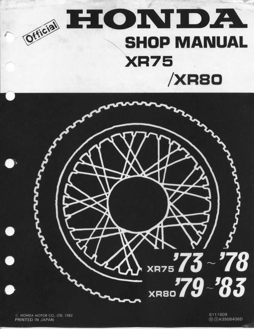 Workshop manual for Honda XR75 (1973-1978)