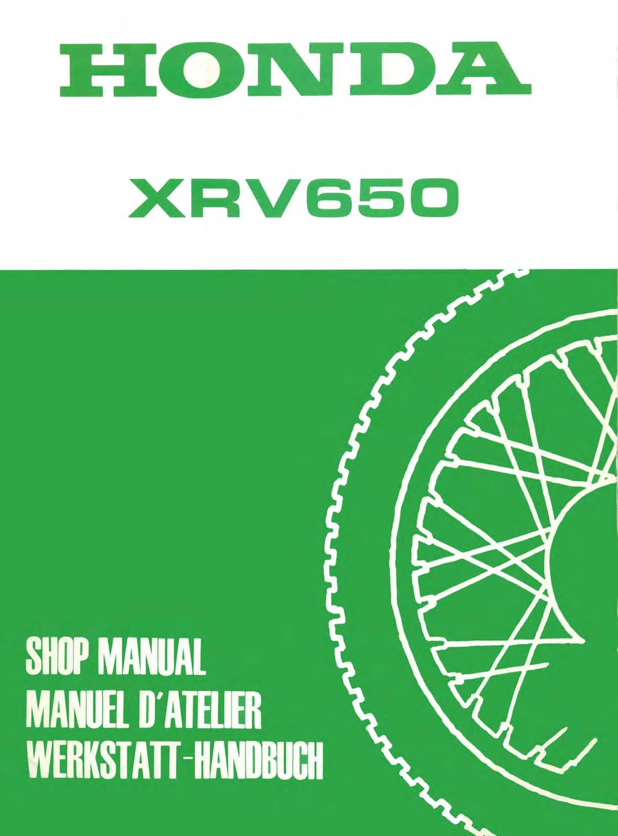 Workshop manual for Honda XRV650 (1988-1989)
