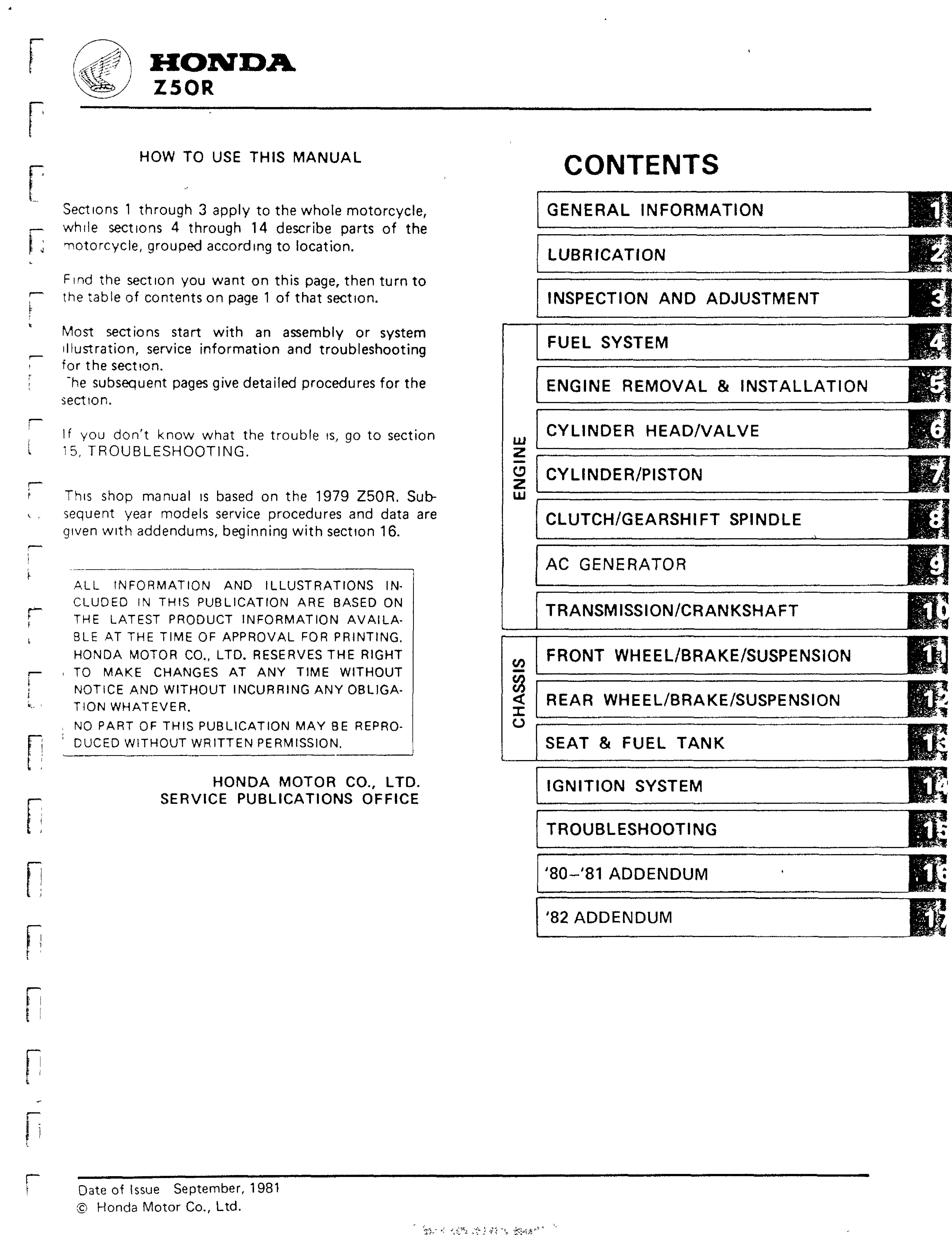 Workshop Manual for Honda Z50R (1980-1982)