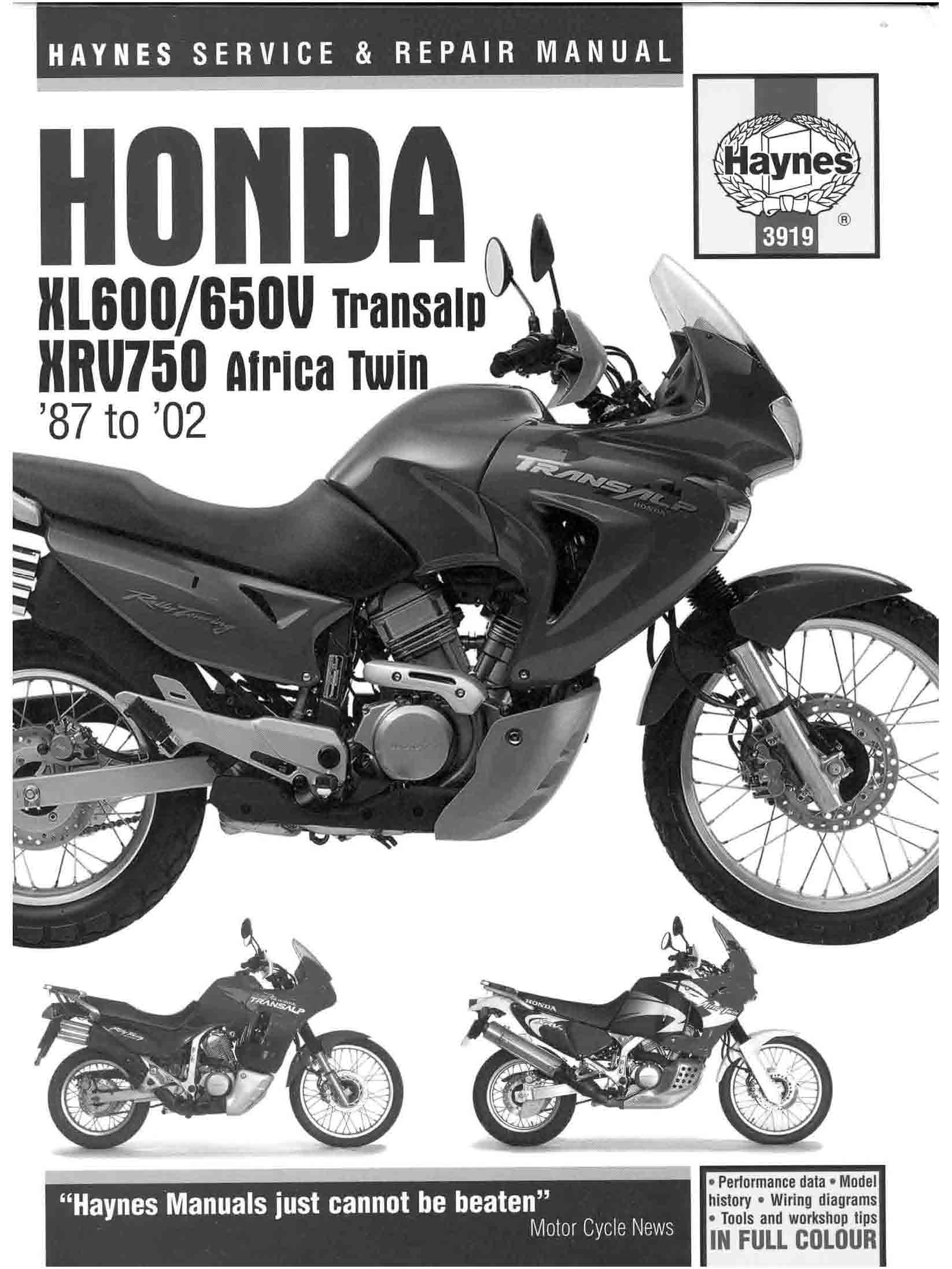 Workshopmanual for Honda 650V Transalp (1987-2002)