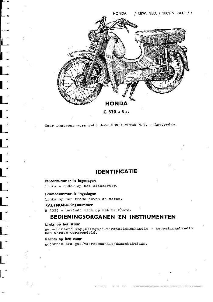 Workshop manual for Honda C310S