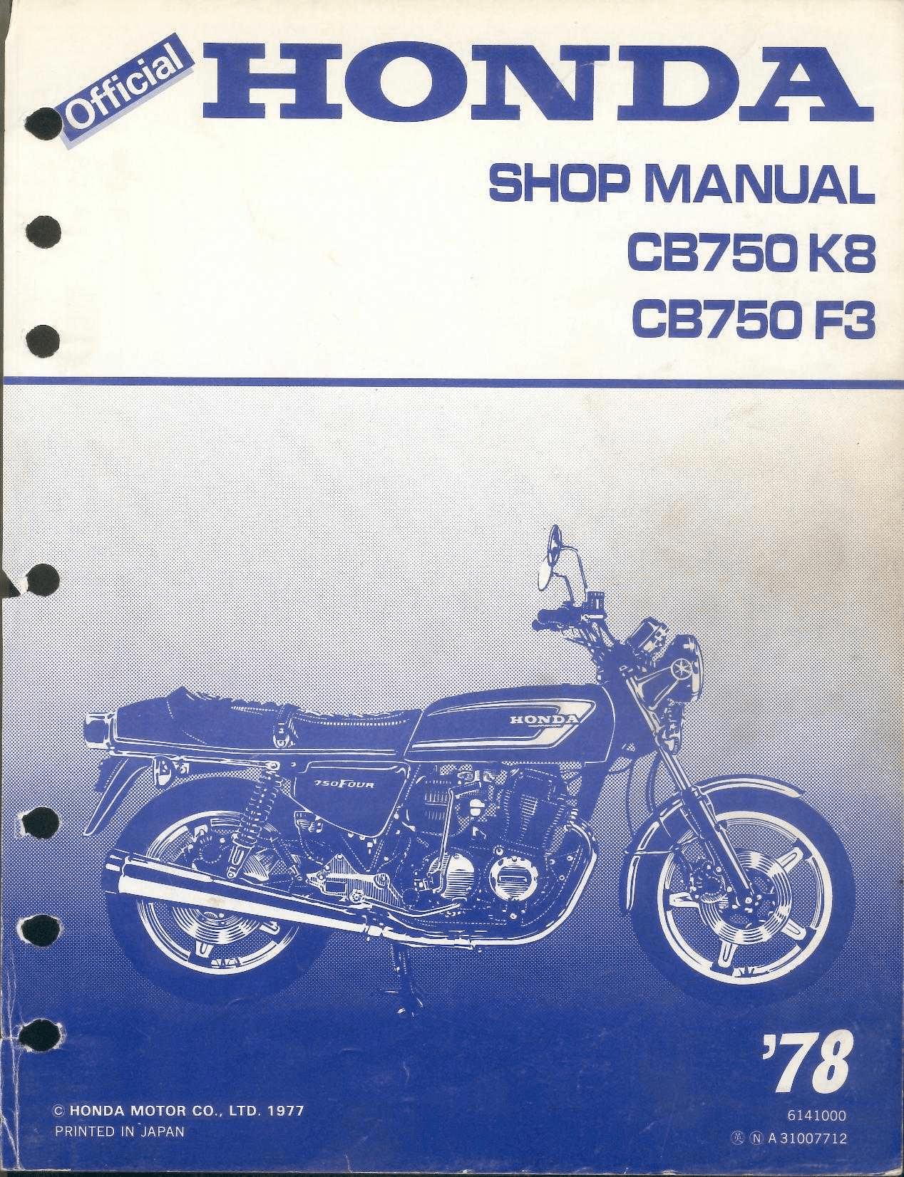 Honda Cb 750 Four Manual Pdf Wiring Diagram 1971 Workshop For Cb750 K8 1978 4 Stroke Net All The Rh Chopper