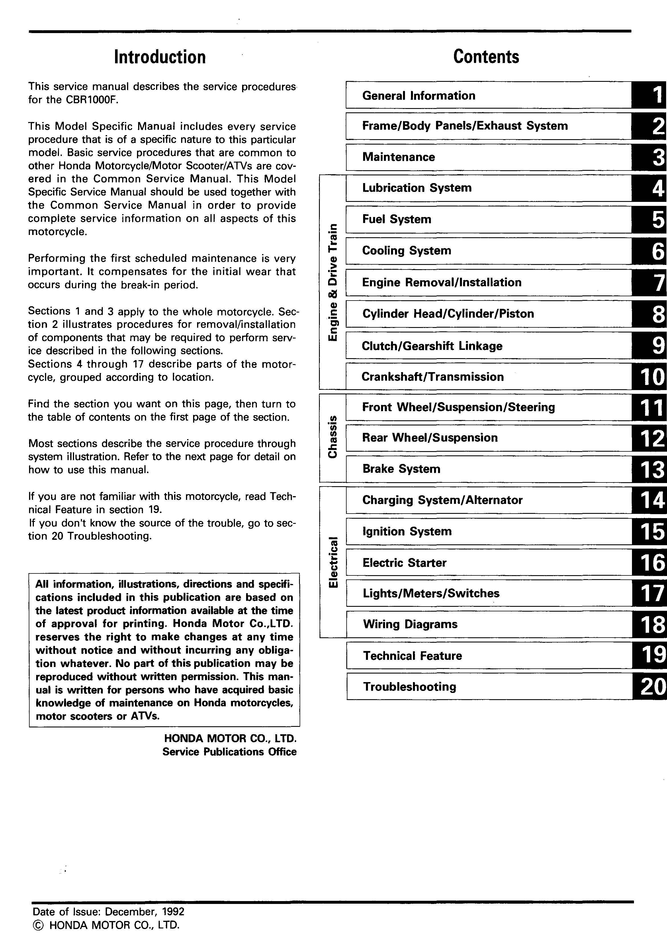 Workshop manual for Honda CBR1000F (1992)