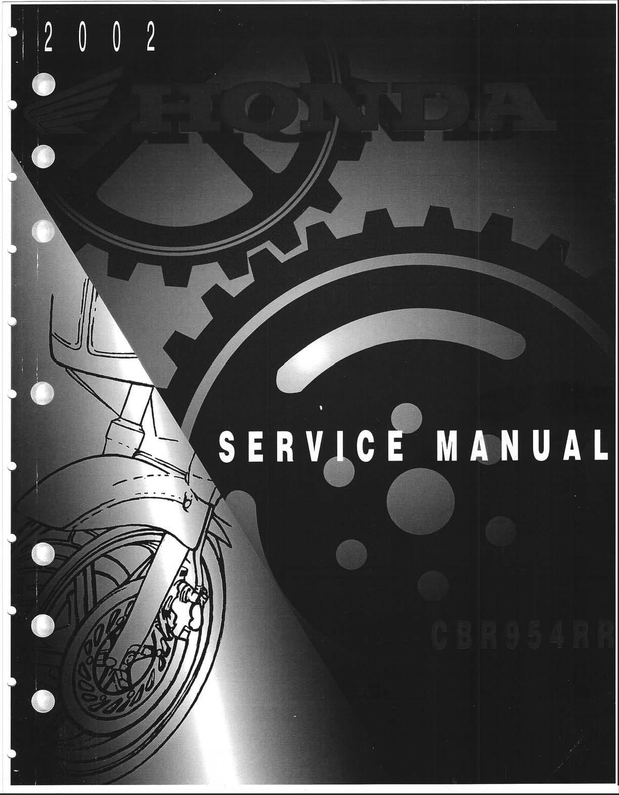 Workshop manual for Honda CBR954RR (2002)