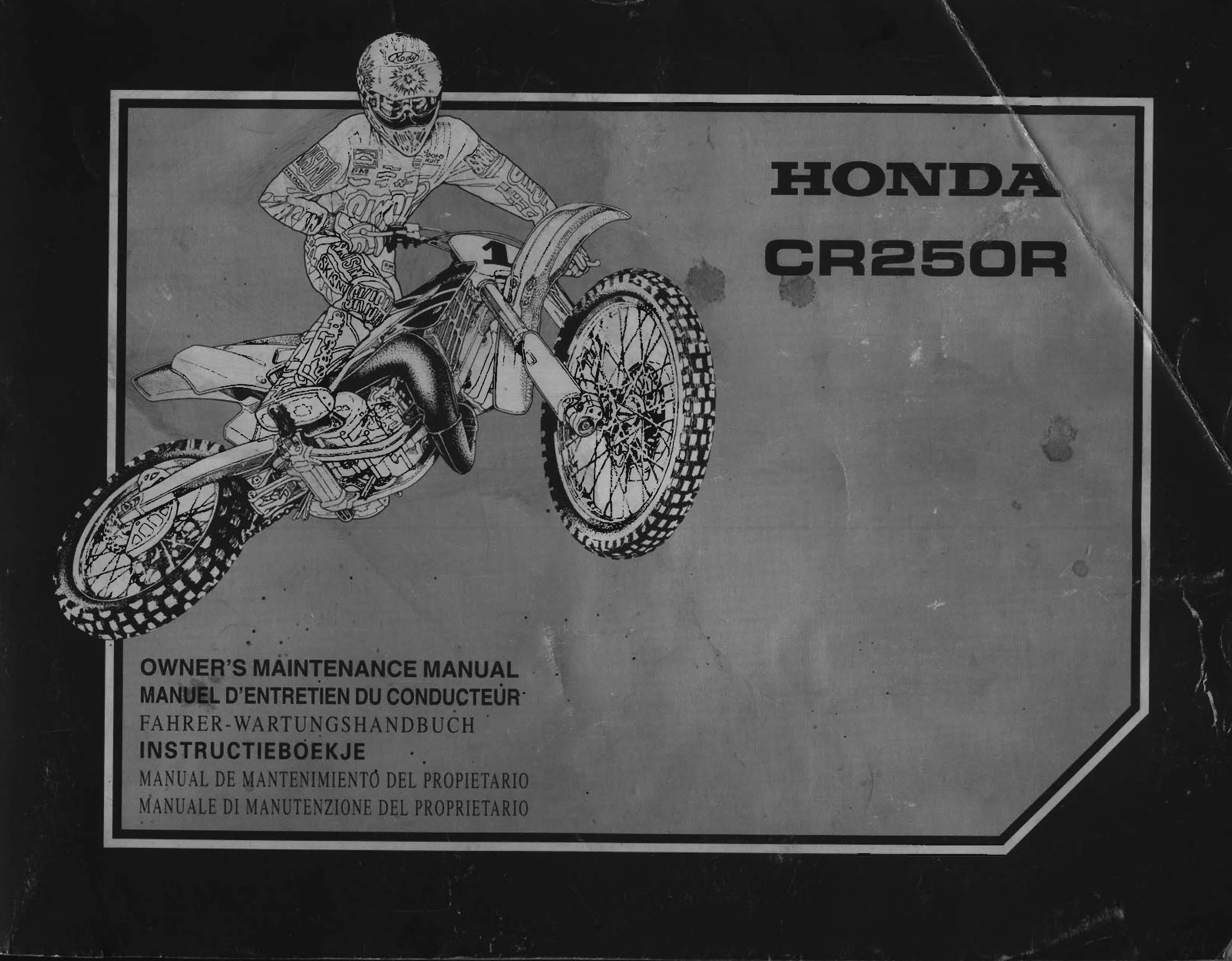 Workshop manual for Honda CR250R (2000) (Multi-language)