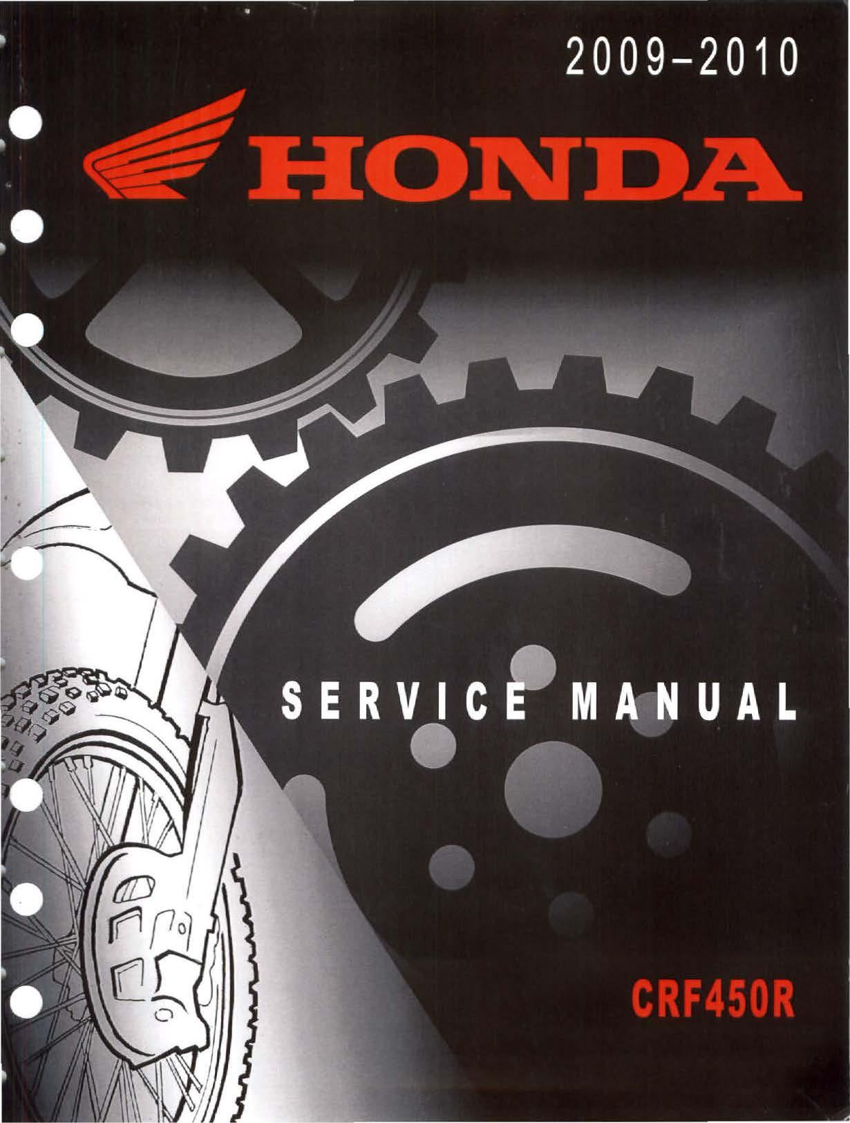 Workshop manual for Honda CRF450R (2009-2010)