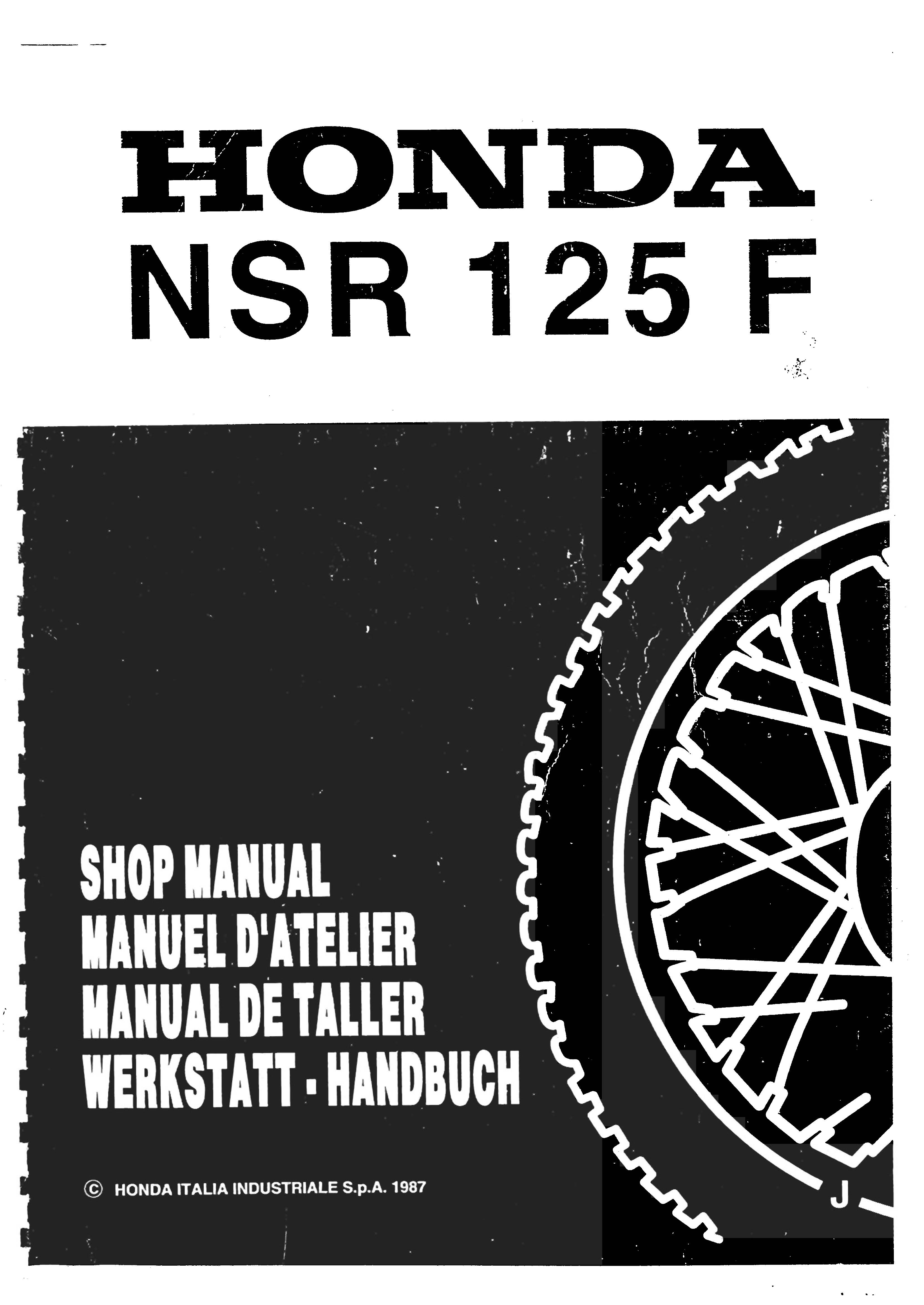 Workshop manual for Honda NSR125F (1987) (Multi-language)
