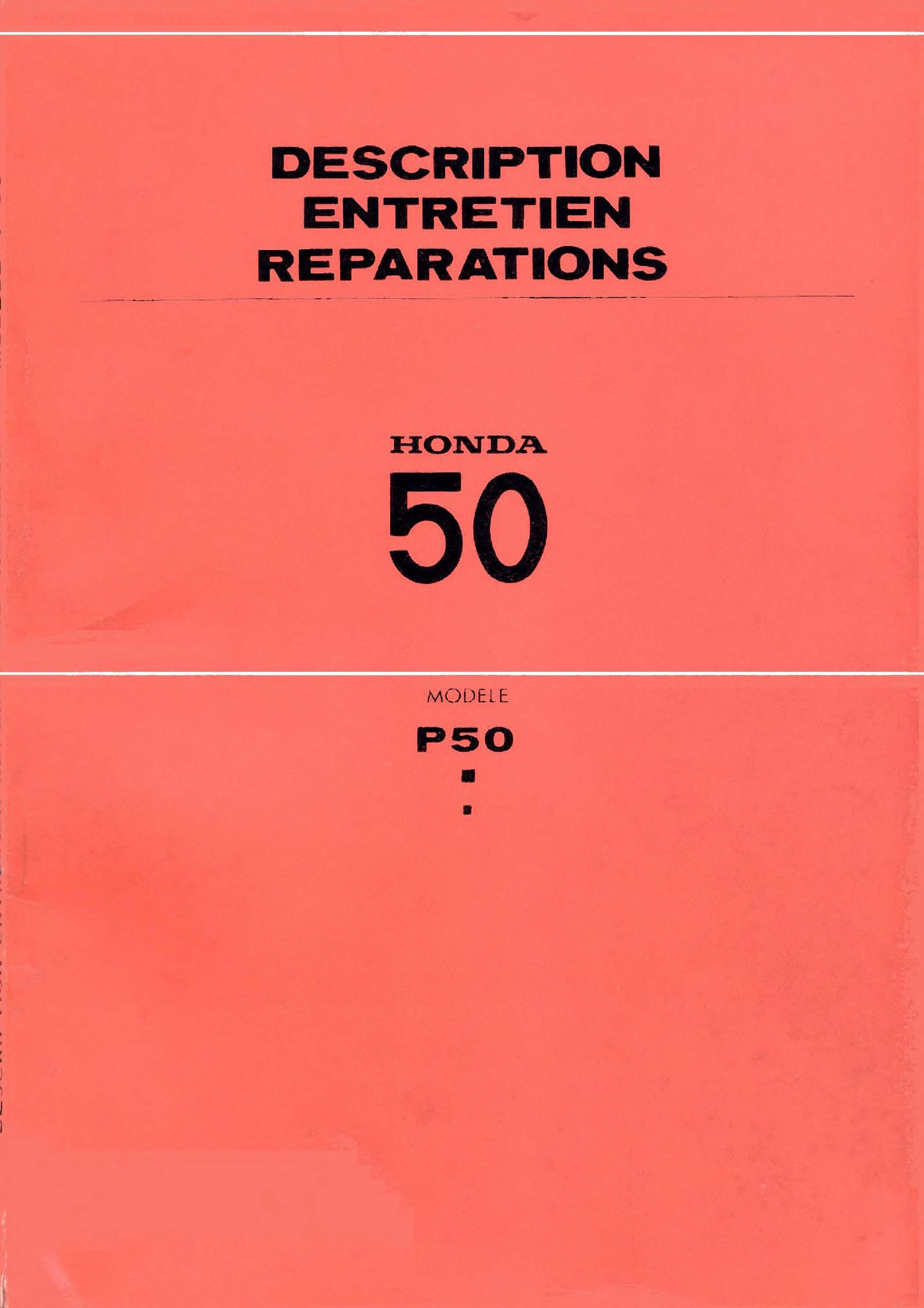 Workshop manual for Honda P50 (1968) (French)