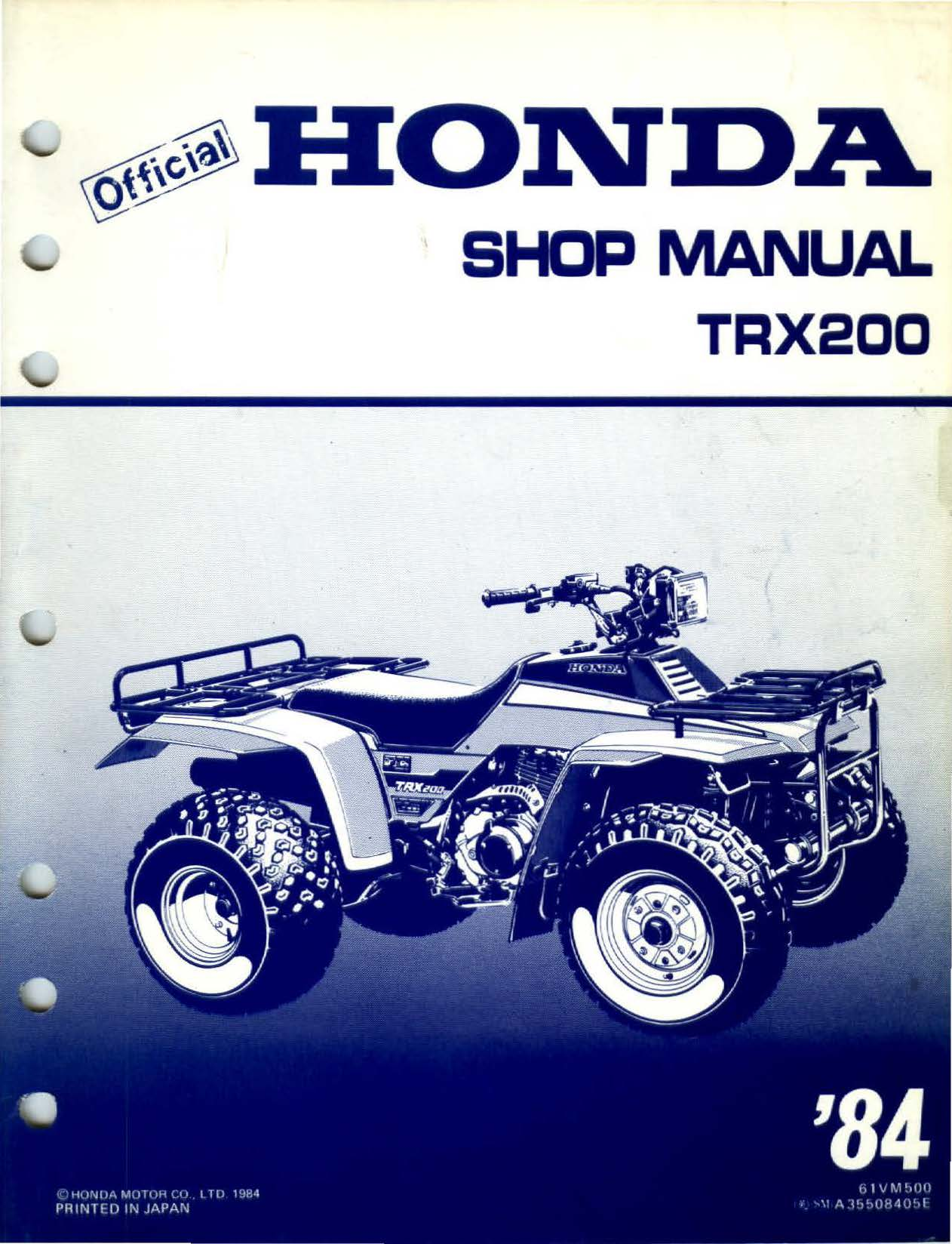 Workshopmanual for Honda TRX200 (1984)