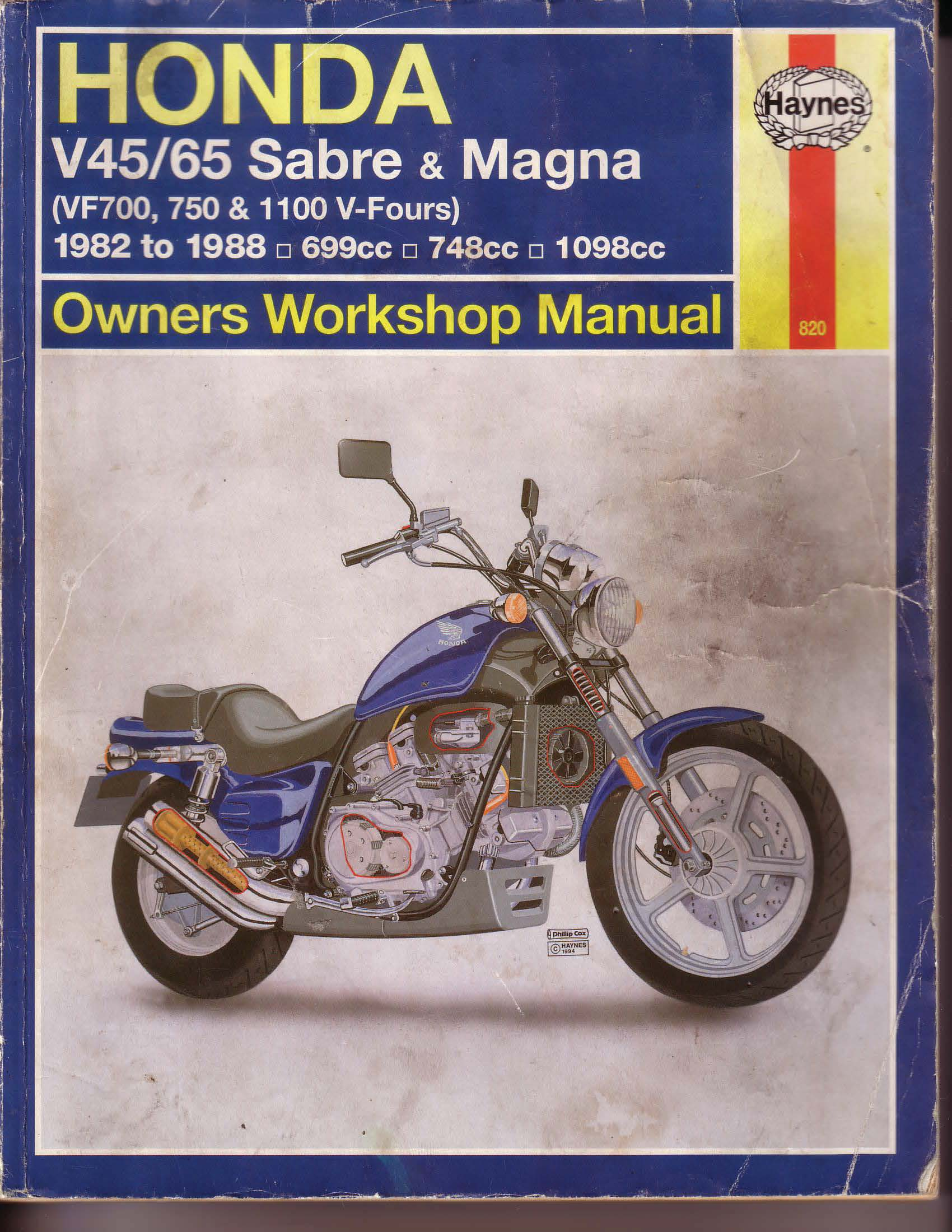 Workshopmanual for Honda VF750 V45/V65 - Sabre/Magna (1982-1988)