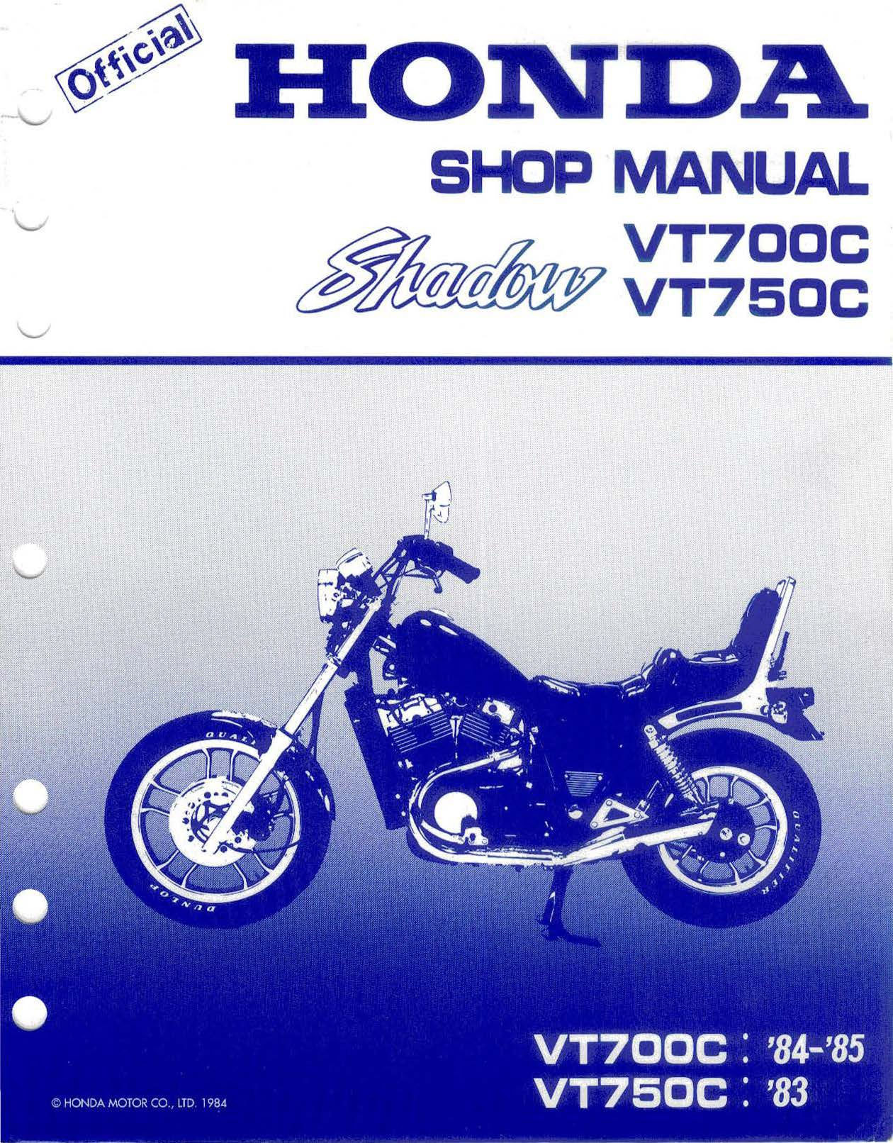 Workshop manual for Honda VT700C Shadow (1984-1985)