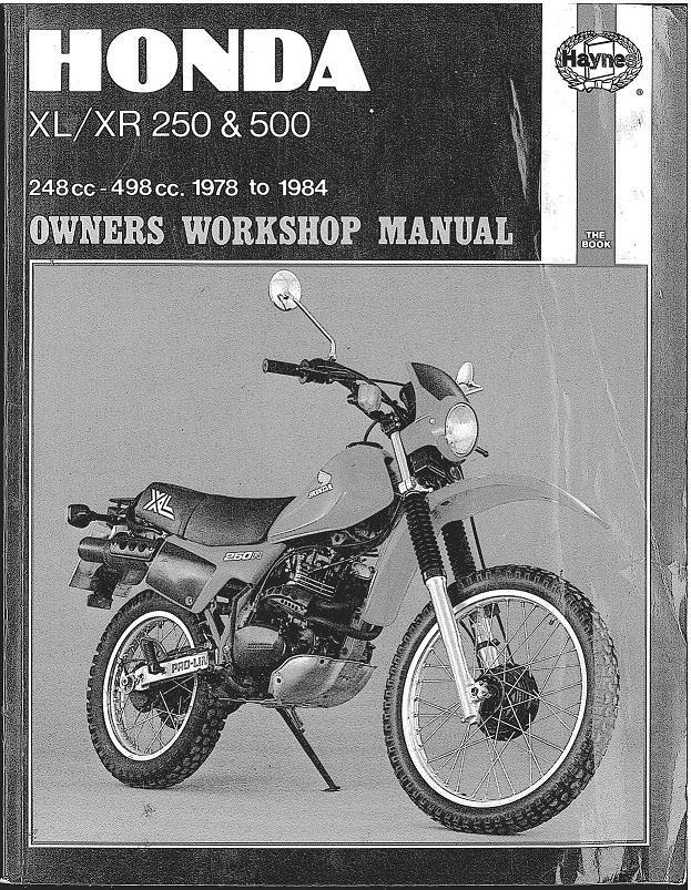 Workshopmanual for Honda XL250 (1978-1984)