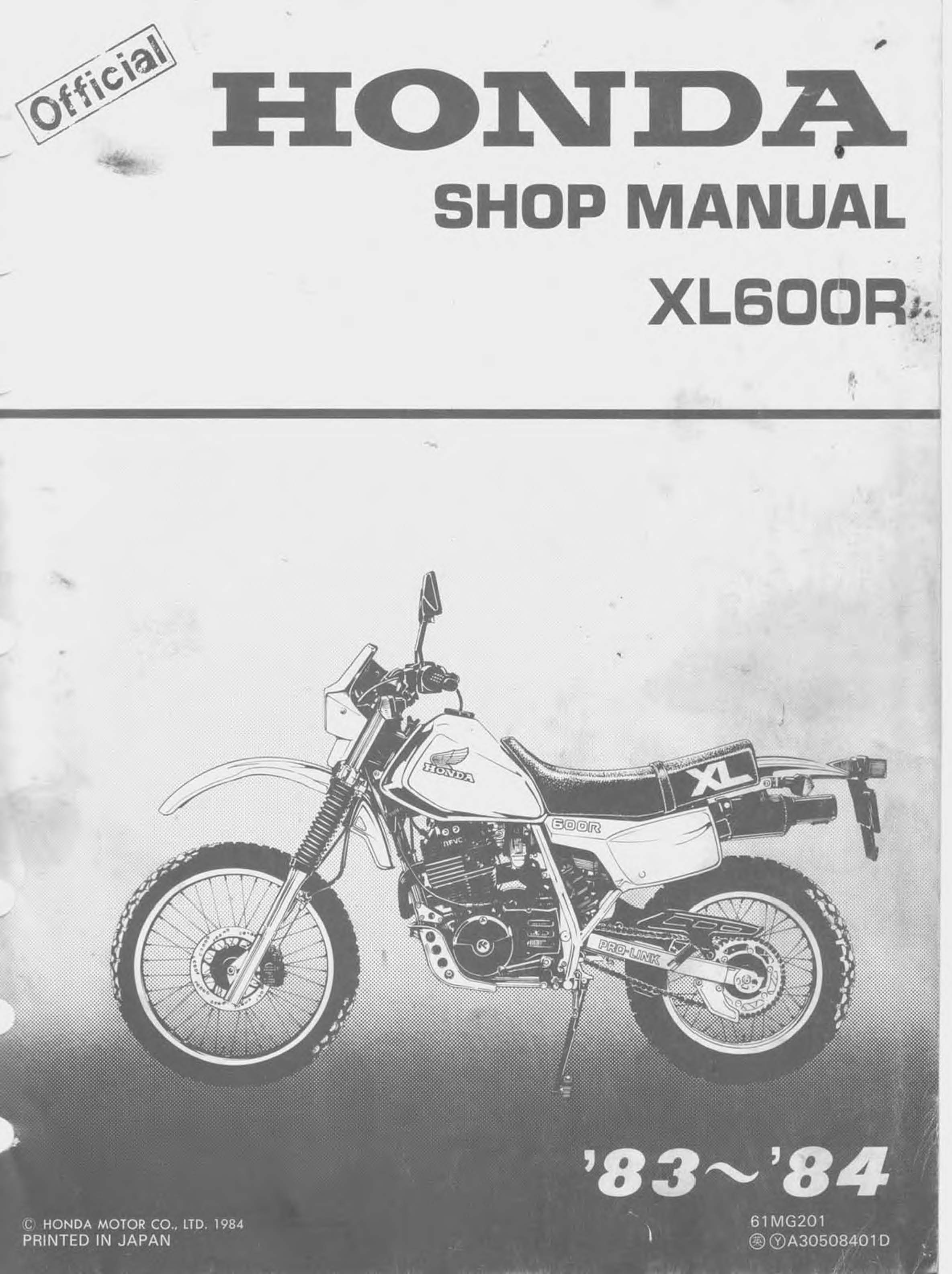 Workshop Manual for Honda XL600R (1983-1984)