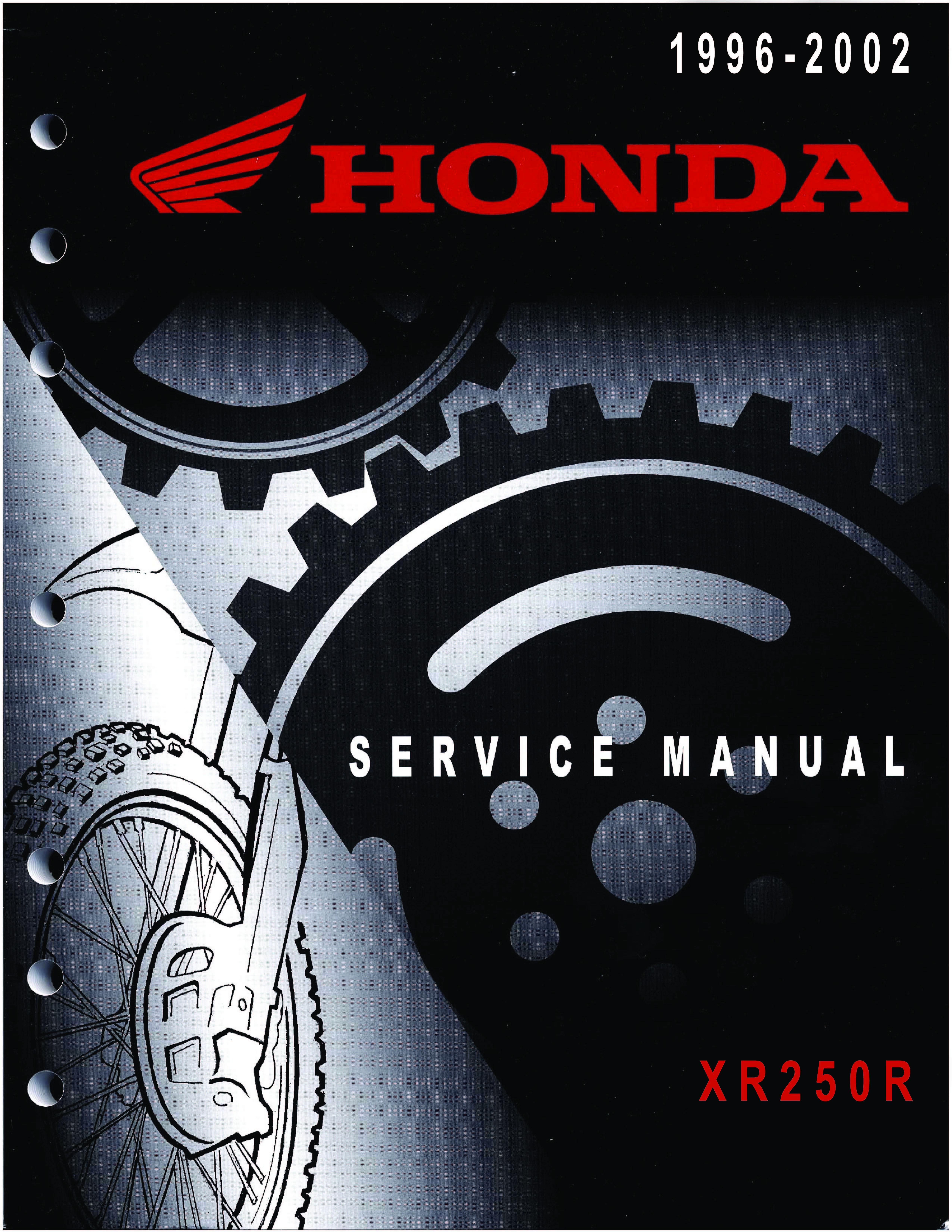 Workshop manual for Honda XR250R (1995)